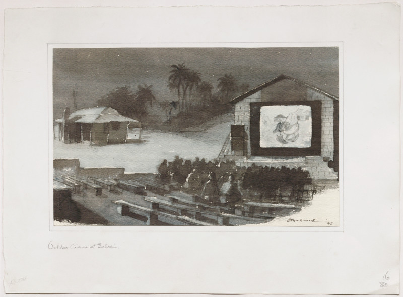 Drawing of an Open-air Cinema in Bahrain, Persian Gulf