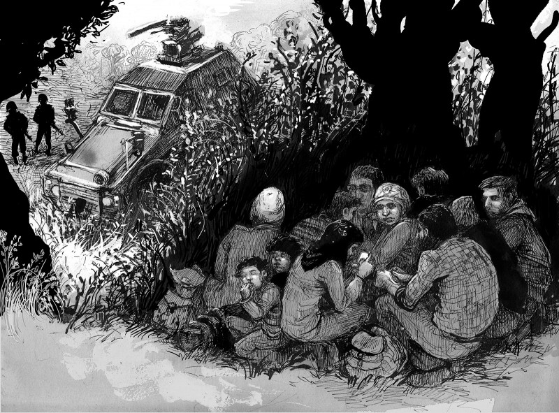 Syrian refugees hiding from Turkish border guards near Afrin, northern Syria, June 2015; illustratio